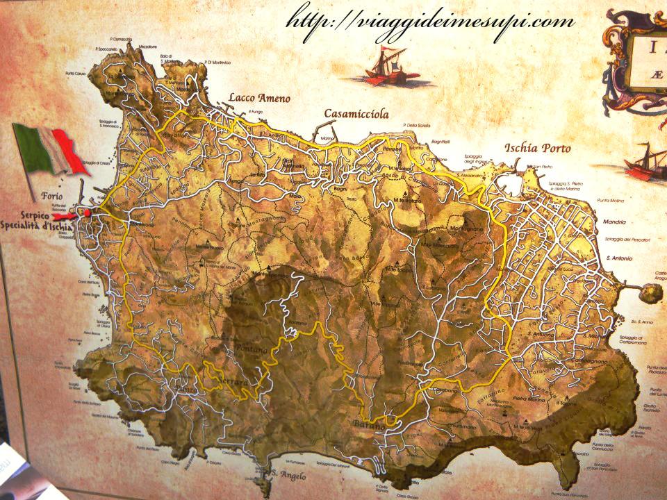 terme gratuite a Ischia - mappa dell'Isola