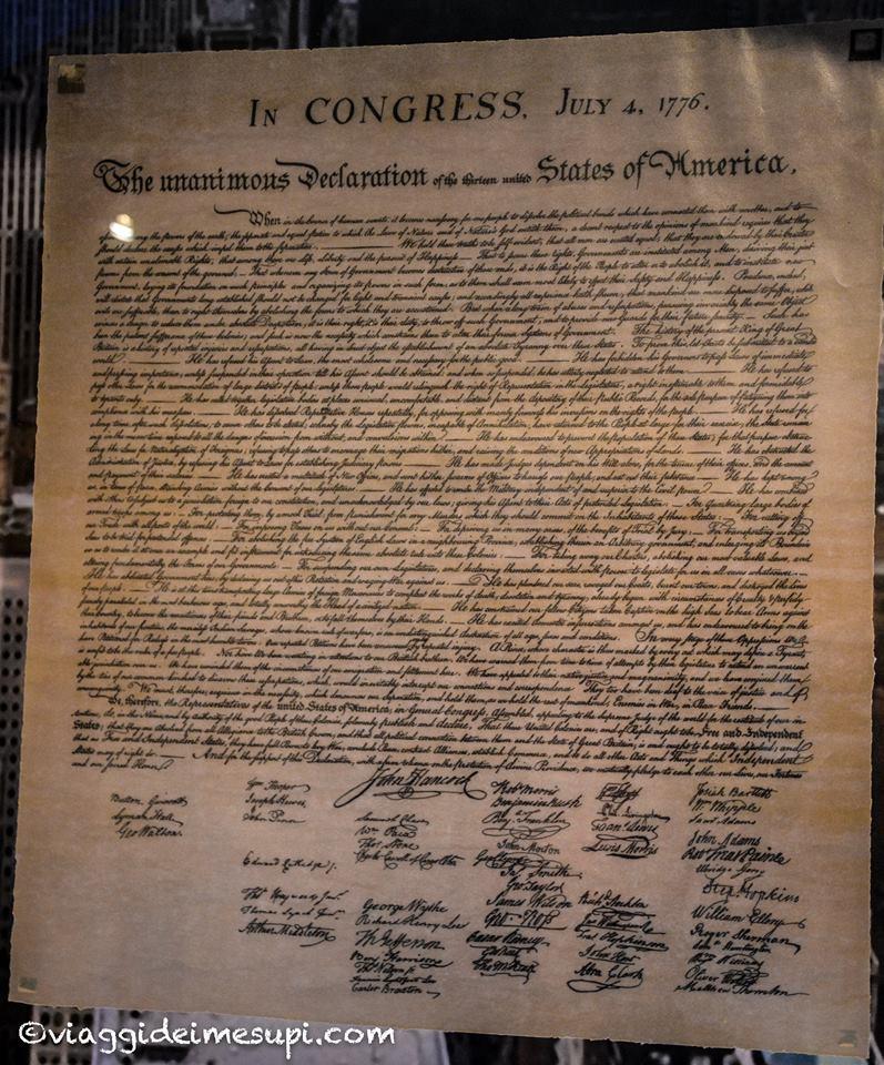 dichiarazione d'indipendenza degli USA nel tumulo di Kosciuszko