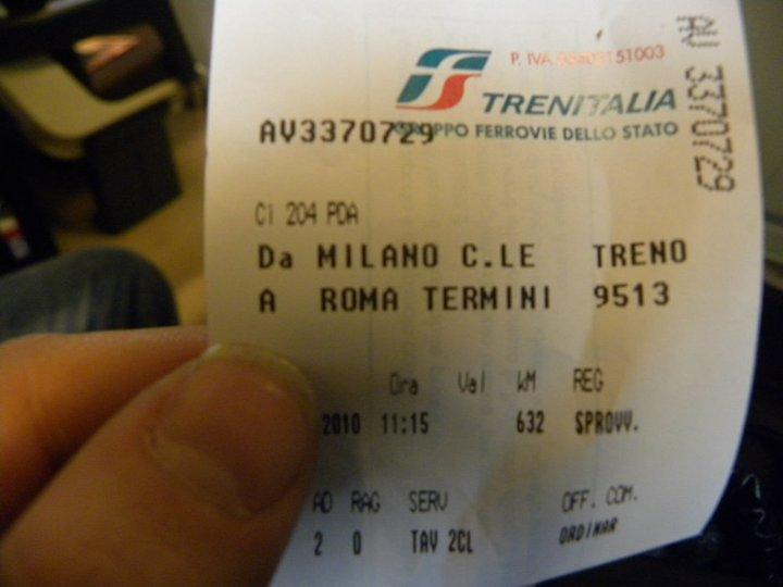 da londra a Roma, biglietto Milano